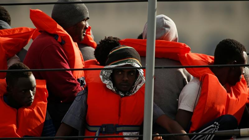 The Maltese navy said the rescued migrants and refugees were on board two separate boats [Darrin Zammit Lupi/Reuters]