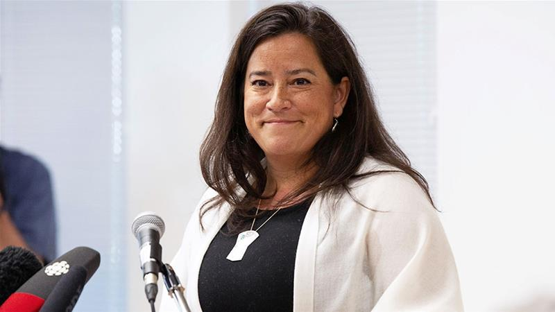 Former Canadian Justice Minister and current Independent MP Jody Wilson-Raybould speaks to supporters about her political future during a news conference in Vancouver, British Columbia [Jackie Dives/Reuters]