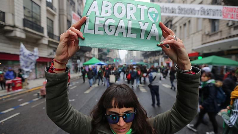Abortion rights activists protests in Buenos Aires last August [File: Marcos Brindicci/Reuters]