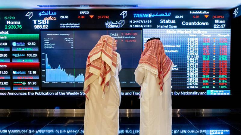 The Tadawul in Riyadh saw more foreign investors buying Saudi stocks in March than ever before [Abdulrahman Abdullah/Bloomberg]