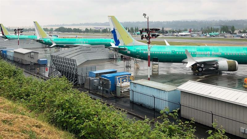 Three 737 MAX jetliners sit parked on the tarmac at Renton Municipal Airport in Renton, Washington in the United States [Eric Johnson/Reuters]