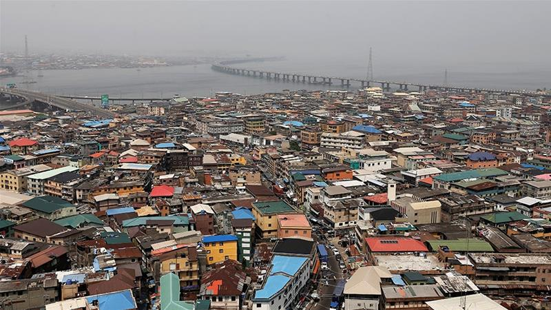 A general view shows part of the central business district on the backdrop of the Lagos lagoon in Nigeria's commercial capital [Nyancho NwaNri/Reuters]