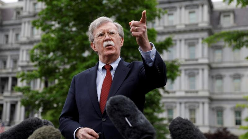 John Bolton, a critic of Iran's leadership, denied that the White House was pursuing a 'policy of regime change' in Iran [File: Kevin Lamarque/Reuters]