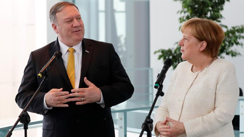 Iran, Syria on agenda as Mike Pompeo meets Germany's Merkel