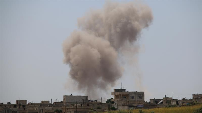 Syrian government forces, with Russian military assistance, stepped up an aerial bombardment campaign on April 26 [File: Muhammed Ali/Anadolu]