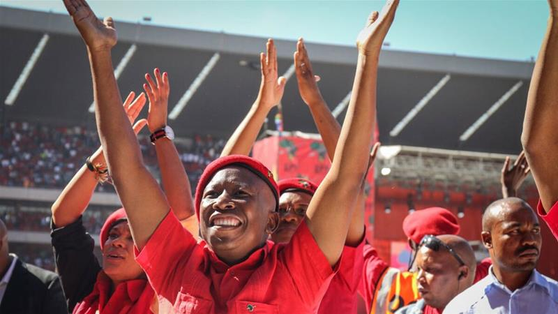 Economic Freedom Fighters' leader Julius Malema promised to enact radical changes to the economy if elected [Christopher Clark/Al Jazeera]