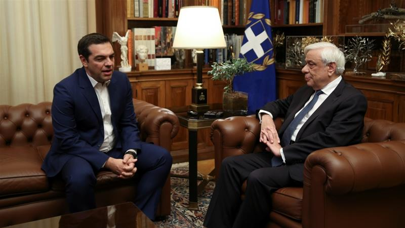 Greek Prime Minister Alexis Tsipras meets with Greek President Prokopis Pavlopoulos to discuss snap elections [Costas Baltas/Reuters]