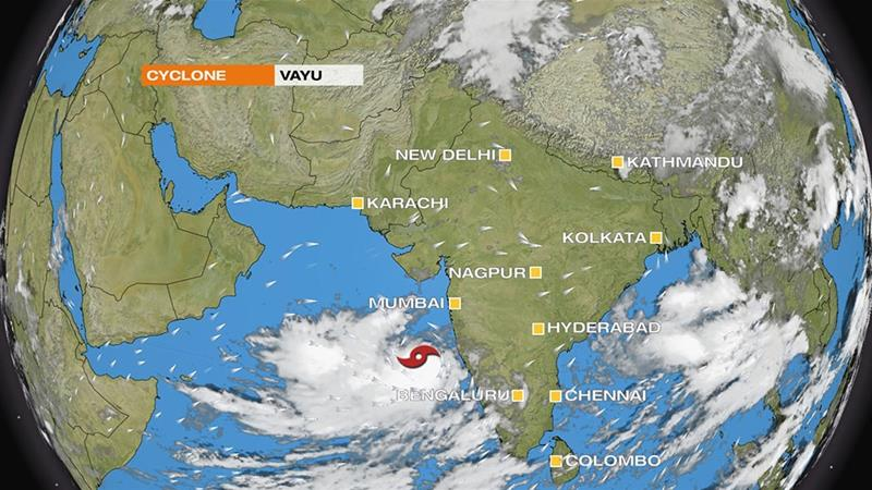 Cyclone Vayu is strengthening in the Arabian Sea and heading towards western India [Al Jazeera]