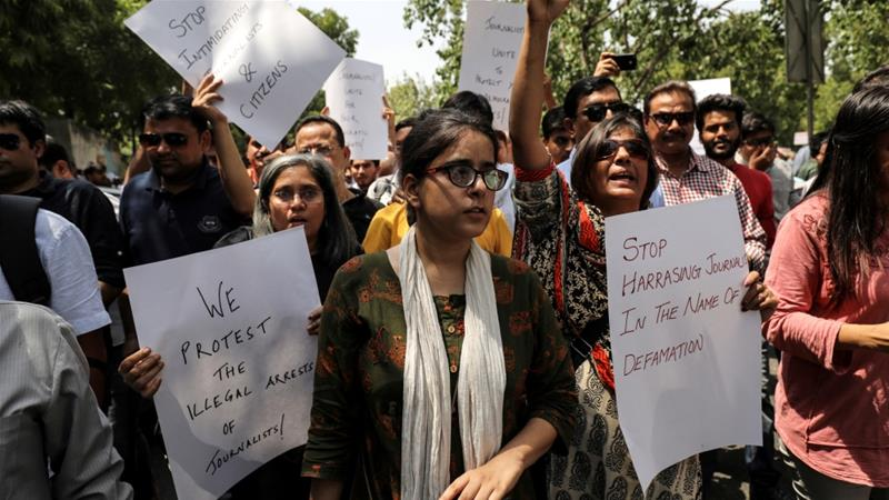Jagisha Arora, wife of Prashant Kanojia, took part in a protests with media members [File: Anushree Fadnavis/Reuters]