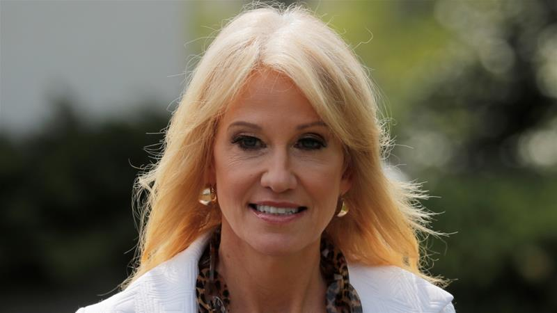 Conway has been an unwavering defender of Trump on cable news [File: Lucas Jackson/Reuters]