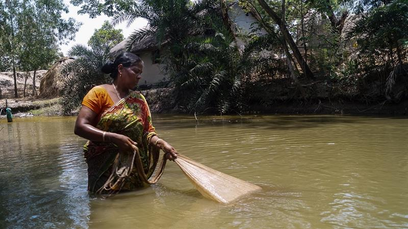 Namita Mondal's husband was killed by a tiger in the Sundarbans mangrove forest 10 years ago [Arijit Khan/Al Jazeera]