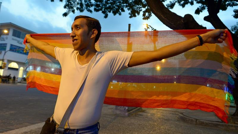Ecuador joins Argentina, Brazil, Colombia and Uruguay in recognising same-sex marriage [Marcos Pin/AFP]