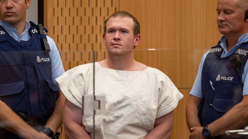 Brenton Tarrant, charged with murder in relation to the mosque attacks, is seen in the dock during his appearance in the Christchurch District Court, New Zealand in March 2019 [File: Mark Mitchell/Pool via Reuters]