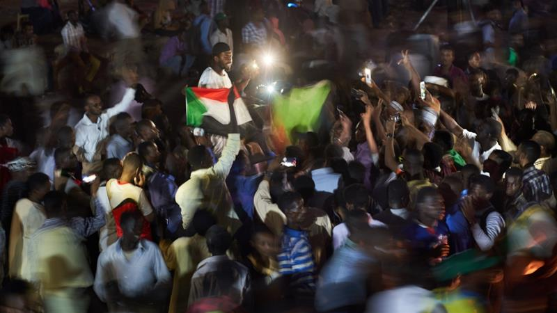 Protesters at the sit-in site outside Khartoum's military headquarters, before it was dispersed on June 3 [File: David Degner/Getty Images]