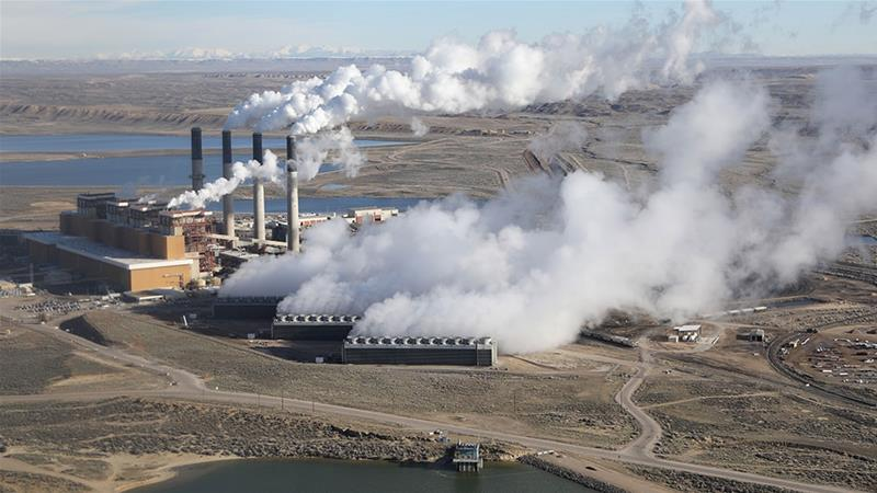 Steam rises from the coal-fired Jim Bridger power plant outside Rock Springs, Wyoming in 2017 [File: Jim Urquhart/Reuters]