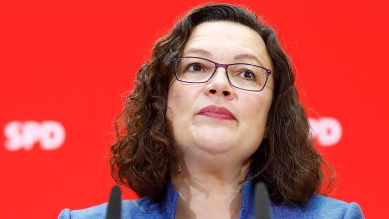 Andrea Nahles headed the centre-left Social Democratic Party (SPD) [File: Michele Tantussi/Reuters]