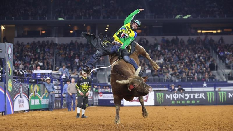 Jose Vitor Leme is among the top competitors in a field where riders can earn up to $118,000 for staying aboard a bull four times over the course of a week-long competition [Stephen Starr/ Al Jazeera]