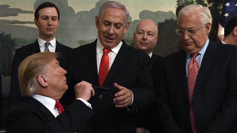 Trump with Kushner, Netanyahu, Greenblatt, and Friedman [Susan Walsh/AP]