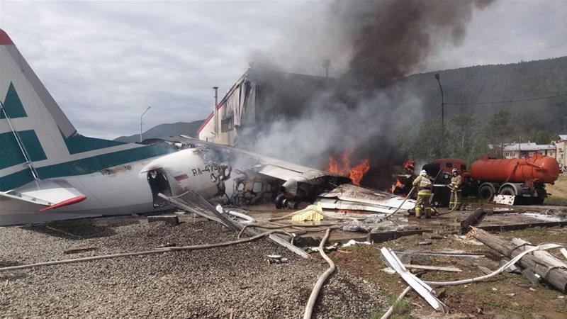 Officials say all the passengers were safely evacuated from the plane before it was destroyed by fire [Ministry of Emergency Situations for the Republic of Buryatia press service via AP]
