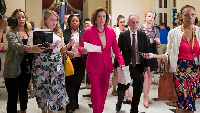 House Speaker Nancy Pelosi walks to the House floor from her office on Capitol Hill [Alex Brandon/AP Photo]