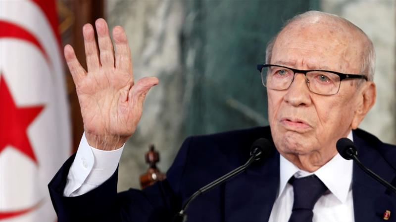 Tunisian President Beji Caid Essebsi speaks during a news conference at the Carthage Palace in Tunis, Tunisia November 8, 2018. He died on Thursday at the age of 92 [Zoubeir Souissi/Reuters]