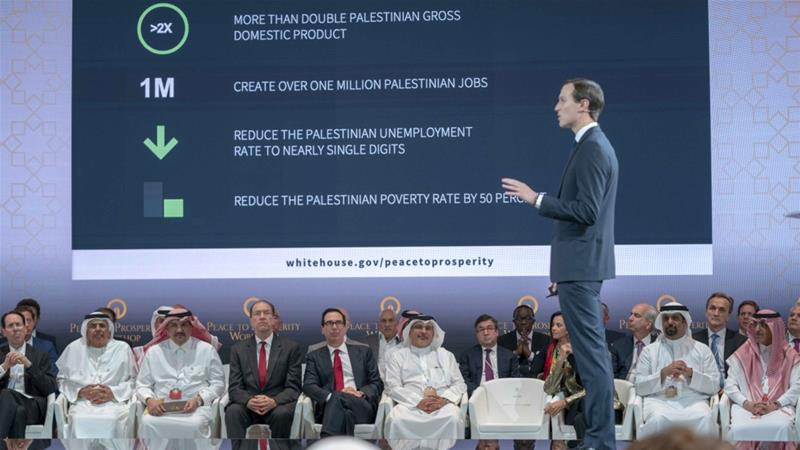 "White House adviser Jared Kushner presented his economic plan ""Peace to Prosperity"" at a workshop in Manama, Bahrain on June 25 [Bahrain News Agency via AP]