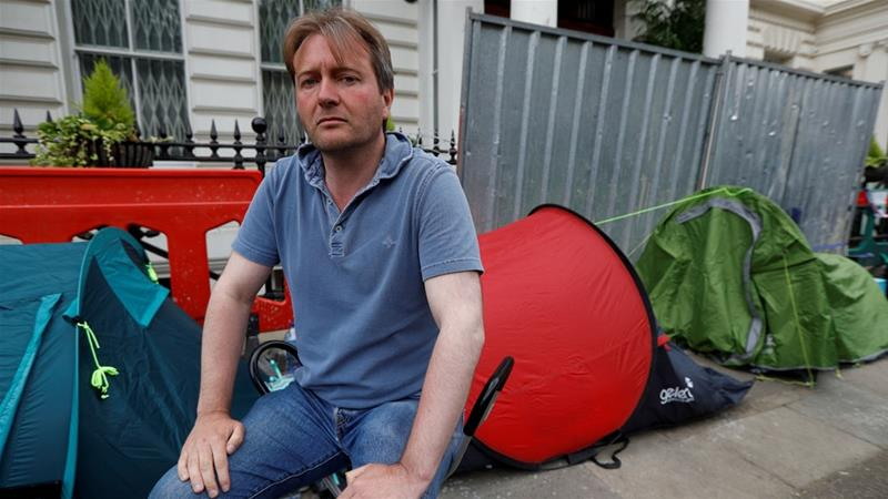Ratcliffe also ended his hunger strike outside the Iranian embassy in London [File: Peter Nicholls/Reuters]