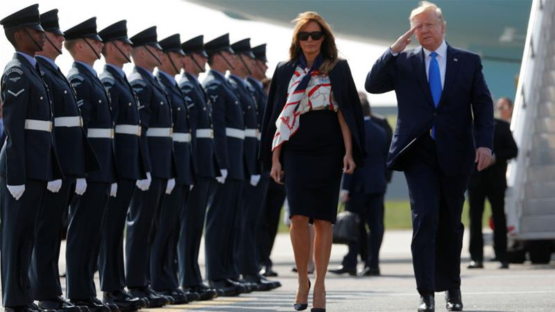 President Donald Trump had whipped up controversy even before landing in the UK with First Lady Melania Trump