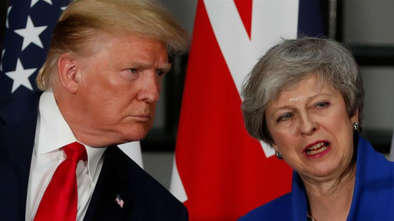 US President Donald Trump and Britain's Prime Minister Theresa May hold a joint news conference in London [Carlos Barria/Reuters]