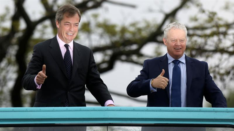 Brexit Party leader Nigel Farage and Mike Greene, the Brexit Party candidate who looks likely to win Thursday's Peterborough by-election [Simon Dawson/Reuters]