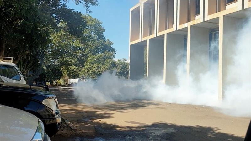 Tear gas seen outside the Malawi Congress Party headquarters in Lilongwe [Ulemu Msungama/Malawi Congress Party via Reuters]