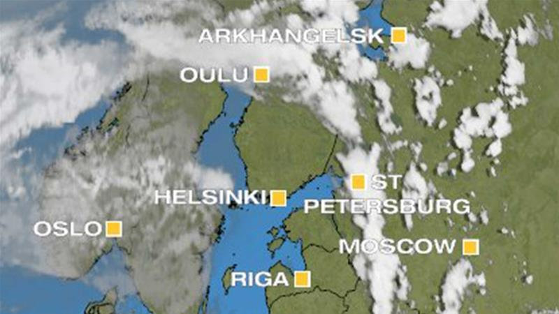 A satellite view of a thundery band across Finland [Al Jazeera]