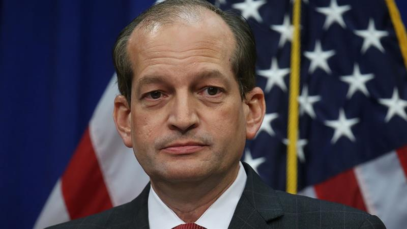 US Labor Secretary Alexander Acosta makes a statement and answers questions from reporters on his involvement in a non-prosecution agreement with financier Jeffrey Epstein [Leah Millis/Reuters]