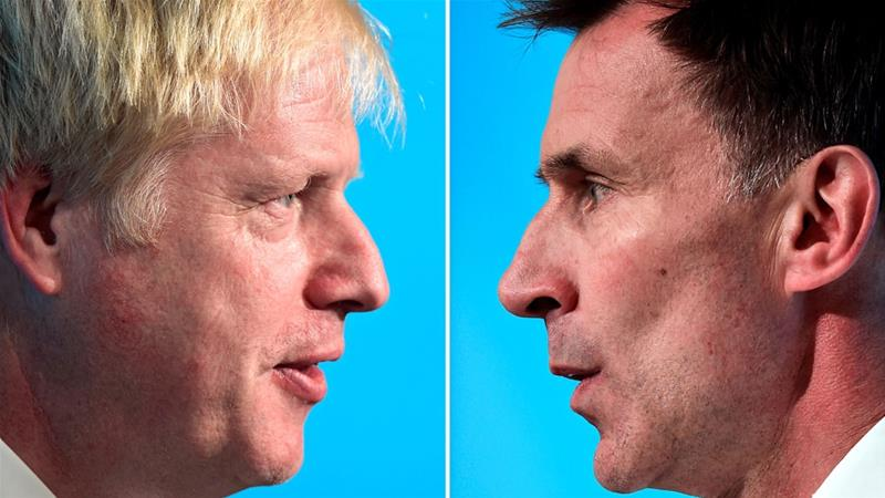 The debate on the ITV network was the first head-to-head between Johnson and his rival Jeremy Hunt [Rebecca Naden/Reuters]