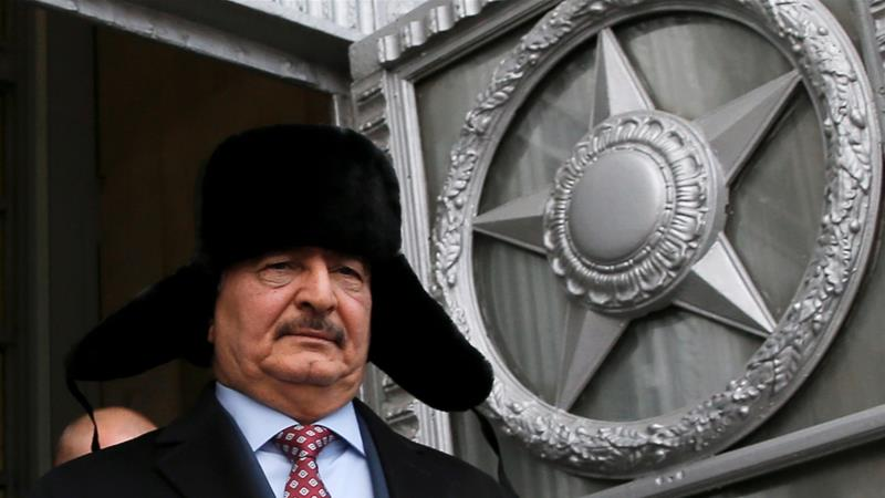 Khalifa Haftar, commander of the Libyan National Army (LNA) militia, leaves after a meeting with Russian Foreign Minister Sergey Lavrov in Moscow on November 29, 2016 [File: Reuters/Maxim Shemetov]