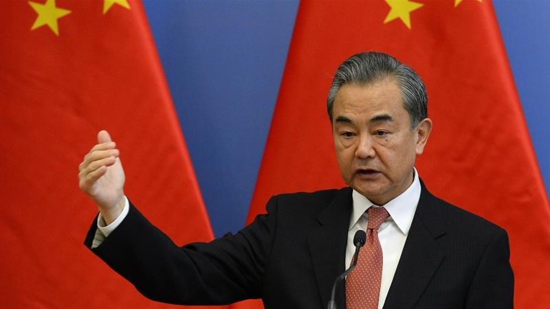 Chinese Foreign Minister Wang Yi has expressed grave concern about Taiwan President Tsai Ing-wen's US visit [Lajos Soos/MTI via AP]
