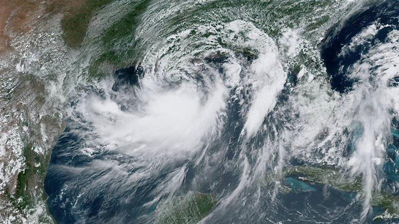 Tropical Storm Barry approaches the coast of Louisiana, US from the Gulf of Mexico [Handout/NOAA/Reuters]