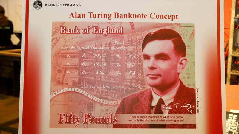 The concept design for a new 50-pound note featuring mathematician Alan Turing was unveiled at the Science and Industry Museum in Manchester on Monday [Andrew Yates/Reuters]