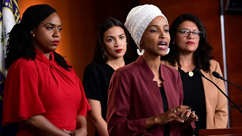 US Representatives Ayanna Pressley, Ilhan Omar, Alexandria Ocasio-Cortez and Rashida Tlaib hold a news conference after Democrats in the US Congress moved to formally condemn President Donald Trump's attacks on the four minority congresswomen [Erin Scott/Reuters]