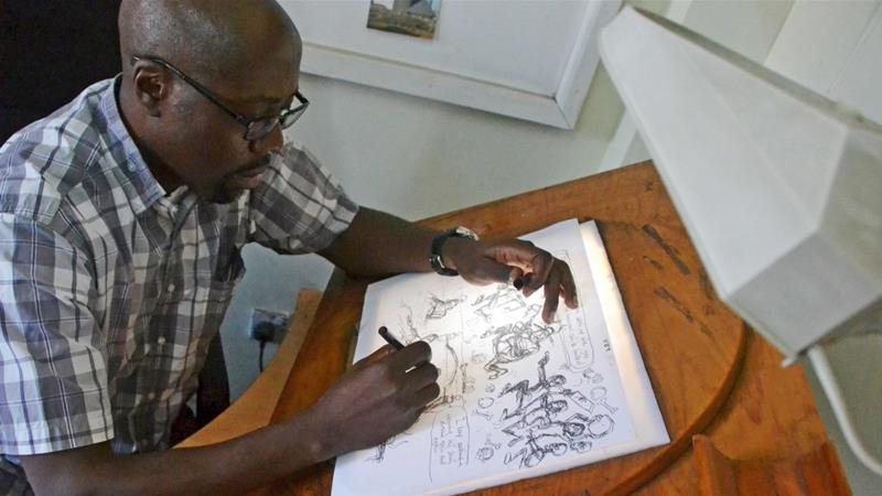 Cartoonist Godfrey Mwampembwa was fired from the Kenyan paper Daily Nation in 2015 [File: Reuters/Drazen Jorgic]