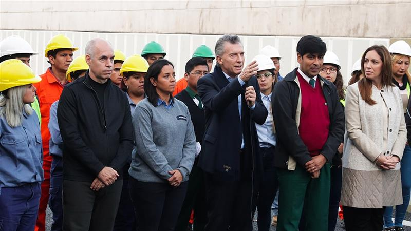 The embattled government of Argentinean President Mauricio Macri is betting that public works projects will dull the edge of the current recession in advance of general elections in October [File: Argentine President's Office/Reuters]