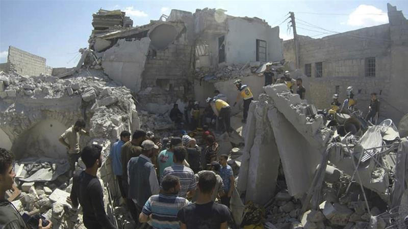Sunday's deaths increased the number of civilians killed by Syrian government or Russian bombardments to 682 since the offensive began in September, according to a war monitor [File: While helmets via AP]