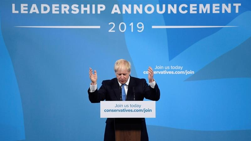 Boris Johnson speaks after being announced as Britain's next Prime Minister at The Queen Elizabeth II centre in London, Britain July 23, 2019 [Reuters]