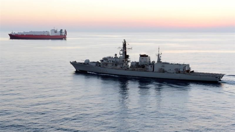 British vessel HMS Montrose was joined in the Gulf by HMS Duncan on Sunday to escort ships [UK defence ministry via AP]