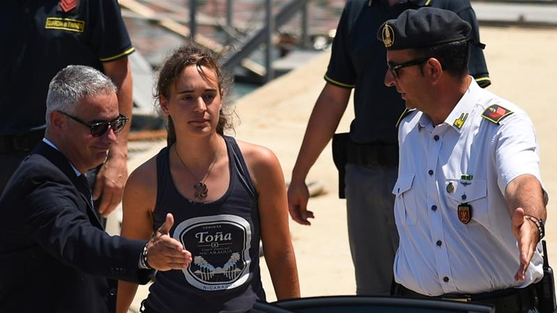 Captain Carola Rackete was arrested on Saturday after entering the port of Lampedusa in her vessel [Guglielmo Mangiapane/Reuters]