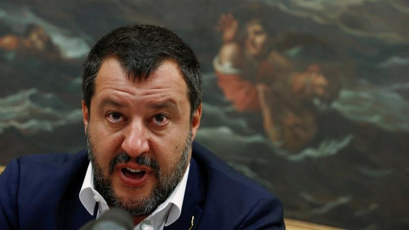 Salvini has taken a hard line against migrants rescued at sea being brought to Italy [Yara Nardi/Reuters]