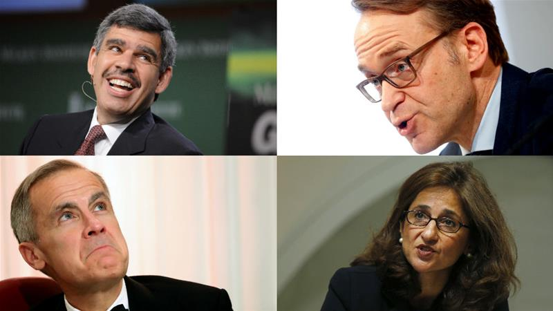 Clockwise from top-left: Mohamed El-Erian, Jens Weidmann, Minouche Shafik and Mark Carney would all make strong contenders to take over at the IMF [Reuters/Al Jazeera composite]