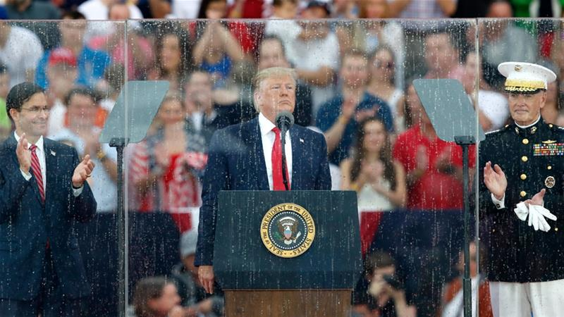 Trump praises US military in rare Independence Day speech