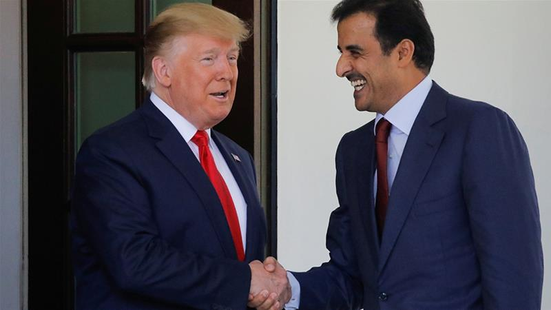 In a joint statement issued on July 9, US President Donald Trump and Qatari Emir Sheikh Tamim bin Hamad Al Thani announced an economic partnership in which the Gulf nation will spend billions of dollars on deals with US companies [Carlos Barria/Reuters]