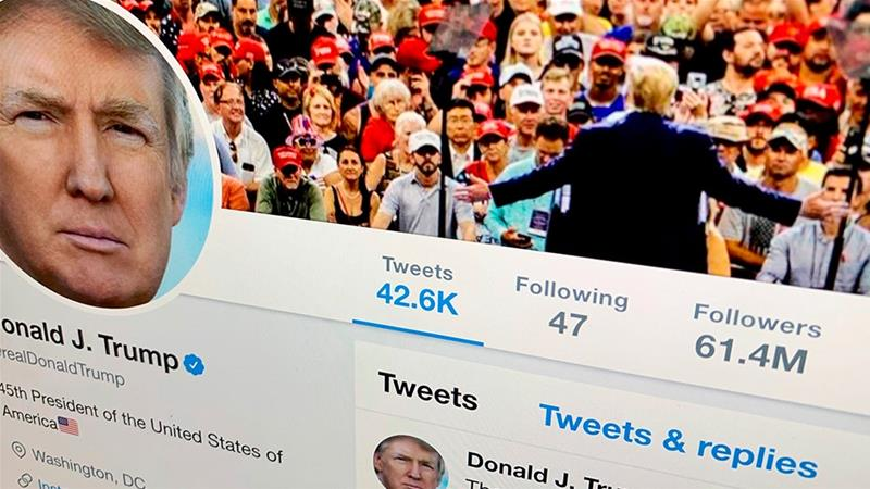 The US President Donald Trump''s Twitter feed is shown on a computer screen [File: Jenny Kane/AP Photo]